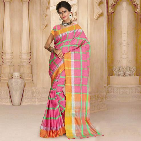 Elegant Pink Colored Casual Wear Linen Saree