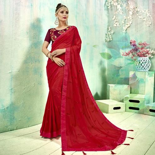 Jazzy Red Colored Party Wear Embroidered Silk Saree