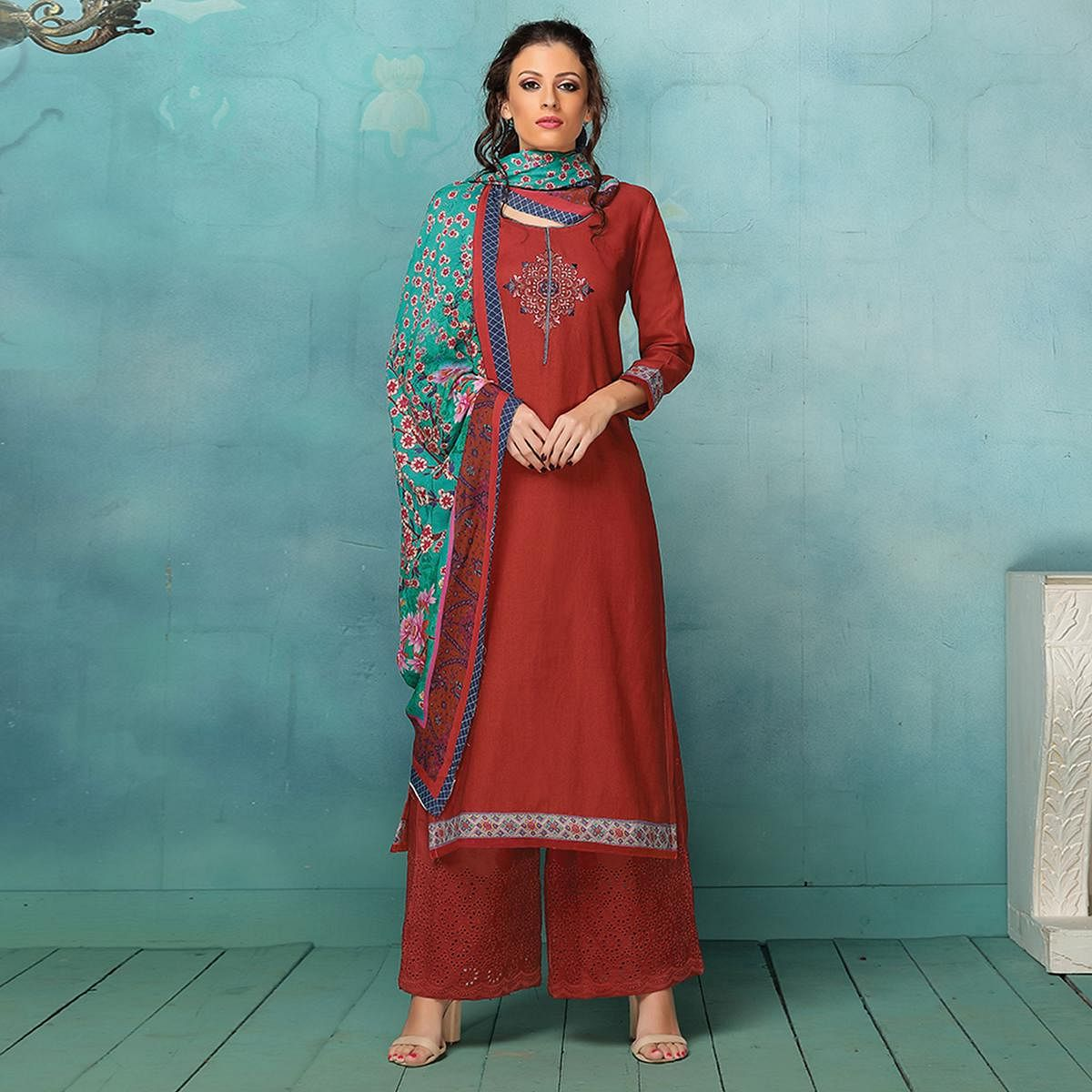Amazing Red Colored Casual Printed Art Silk Cotton Palazzo Suit