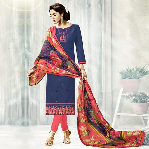 Beautiful Navy Blue Colored Fancy Embroidered Cotton Dress Material