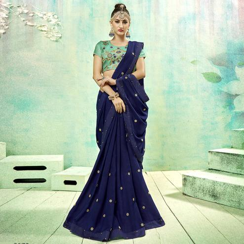 Appealing Blue Colored Party Wear Embroidered Silk Saree