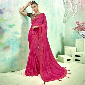 Groovy Pink Colored Party Wear Embroidered Silk Saree