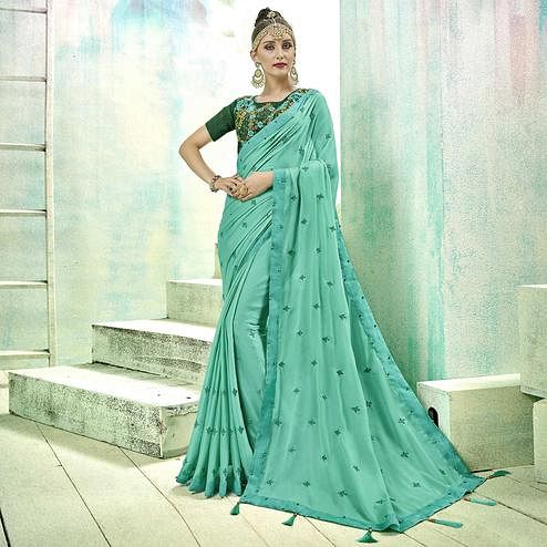 Prominent Aqua Blue Colored Party Wear Embroidered Silk Saree
