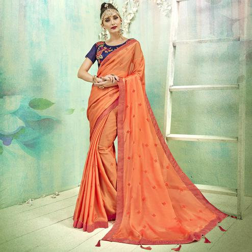 Capricious Orange Colored Party Wear Embroidered Silk Saree