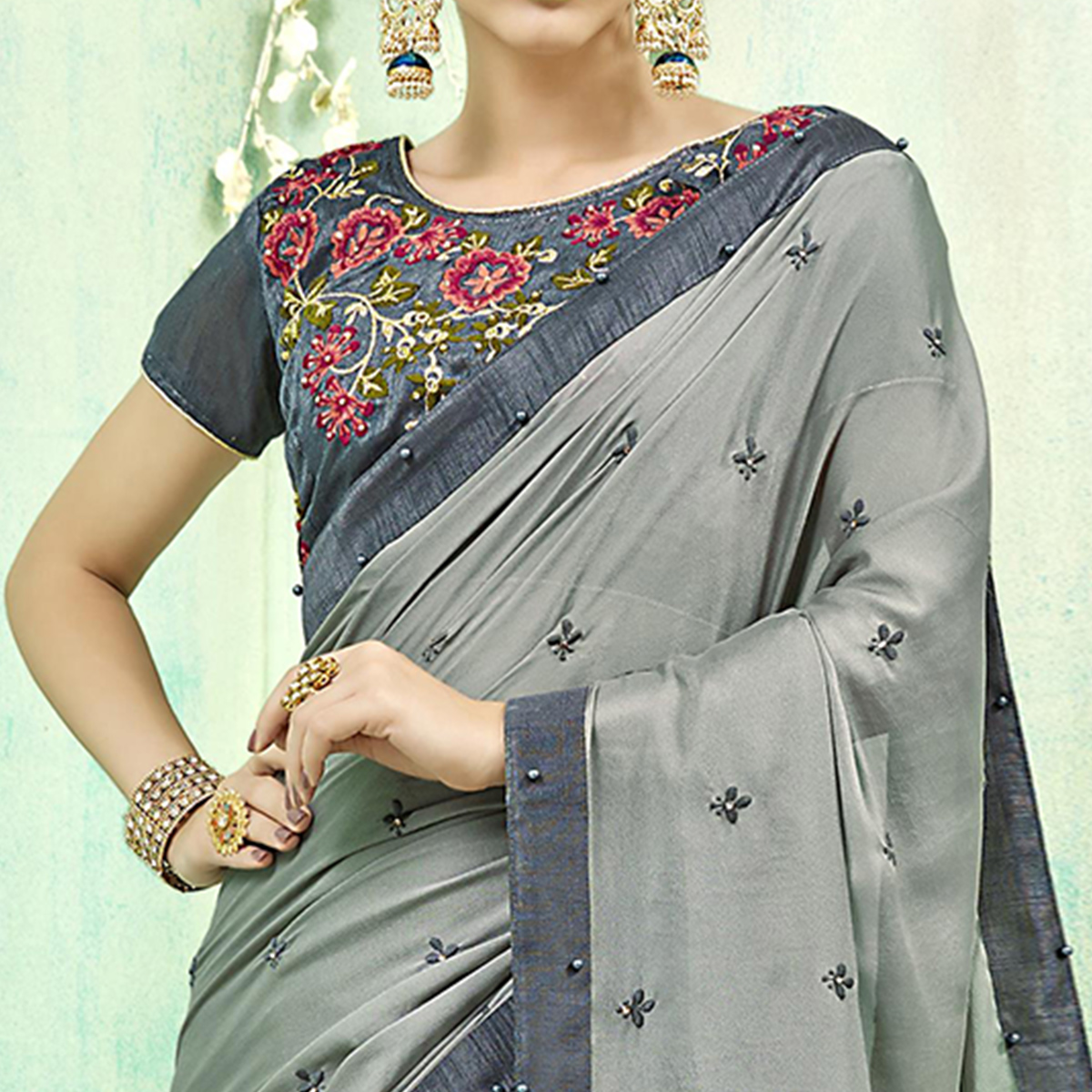 Adorning Grey Colored Party Wear Embroidered Silk Saree