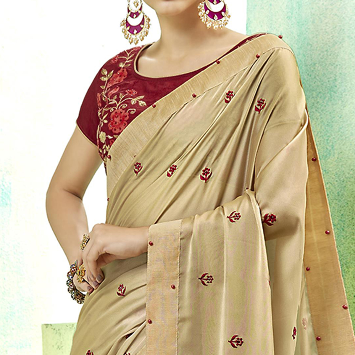 Captivating Cream Colored Party Wear Embroidered Silk Saree