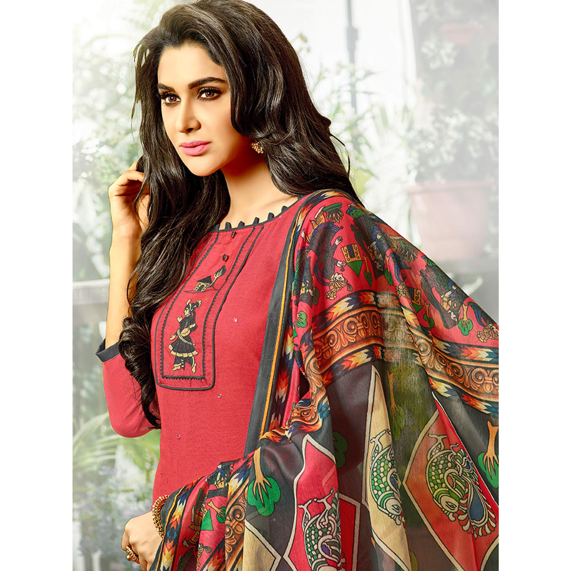 Pretty Red Colored Fancy Embroidered Cotton Dress Material