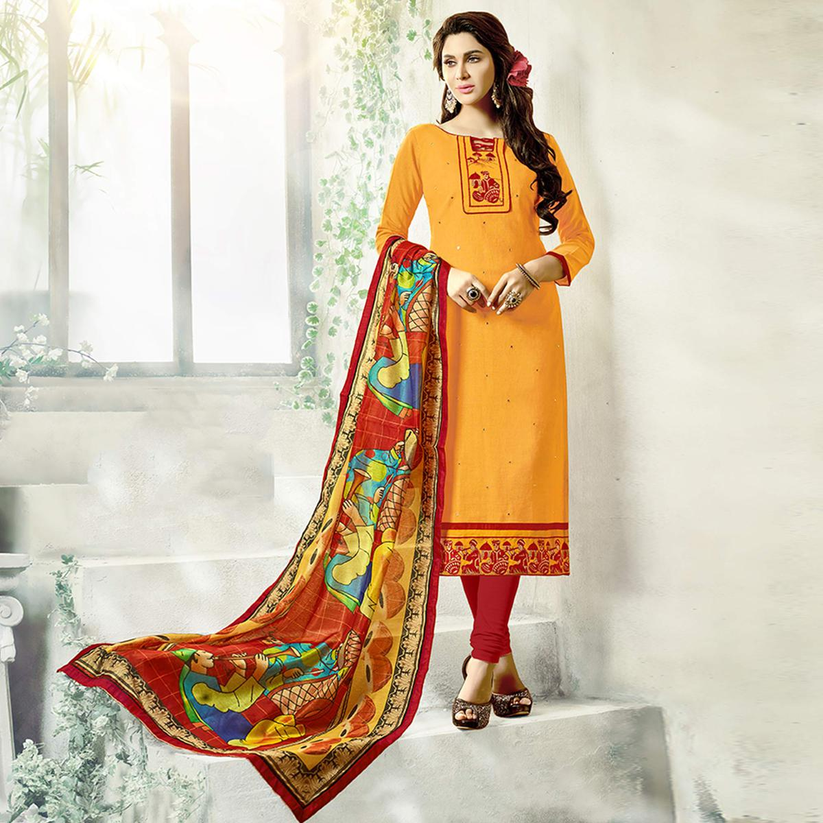 Gorgeous Yellow Colored Fancy Embroidered Cotton Dress Material