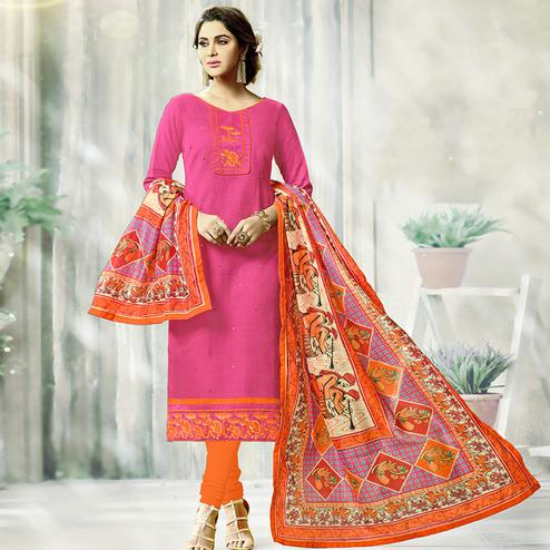 Girlish Pink Colored Fancy Embroidered Cotton Dress Material