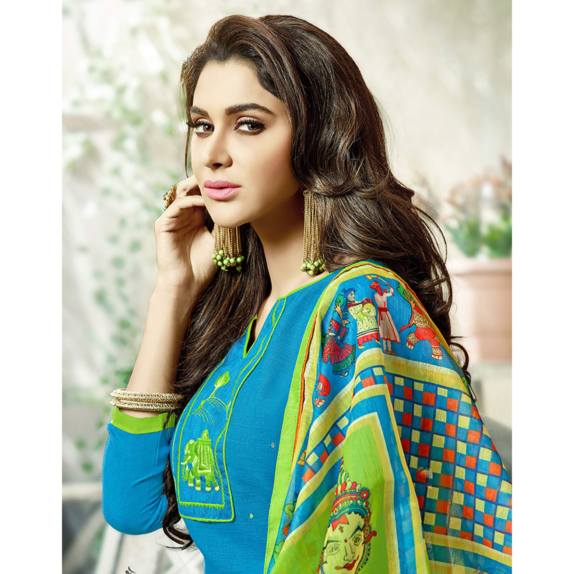 Classy Sky Blue Colored Fancy Embroidered Cotton Dress Material