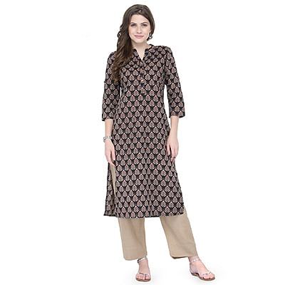 Adorable Black Printed Cotton Kurti