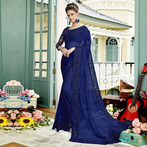 Intricate Blue Colored Party Wear Embroidered Silk Saree
