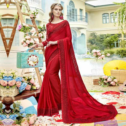 Desirable Red Colored Party Wear Embroidered Georgette Saree