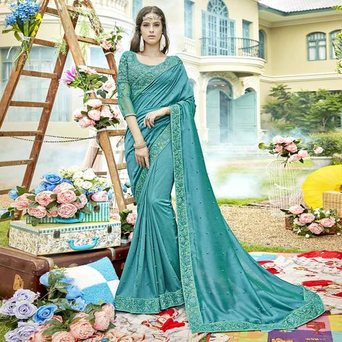 Unique Sky Blue Colored Party Wear Embroidered Silk Saree