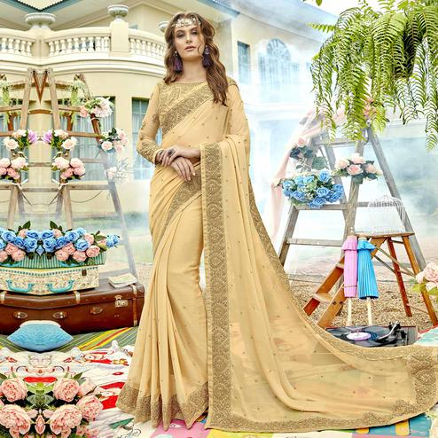 Refreshing Cream Colored Party Wear Embroidered Silk Saree