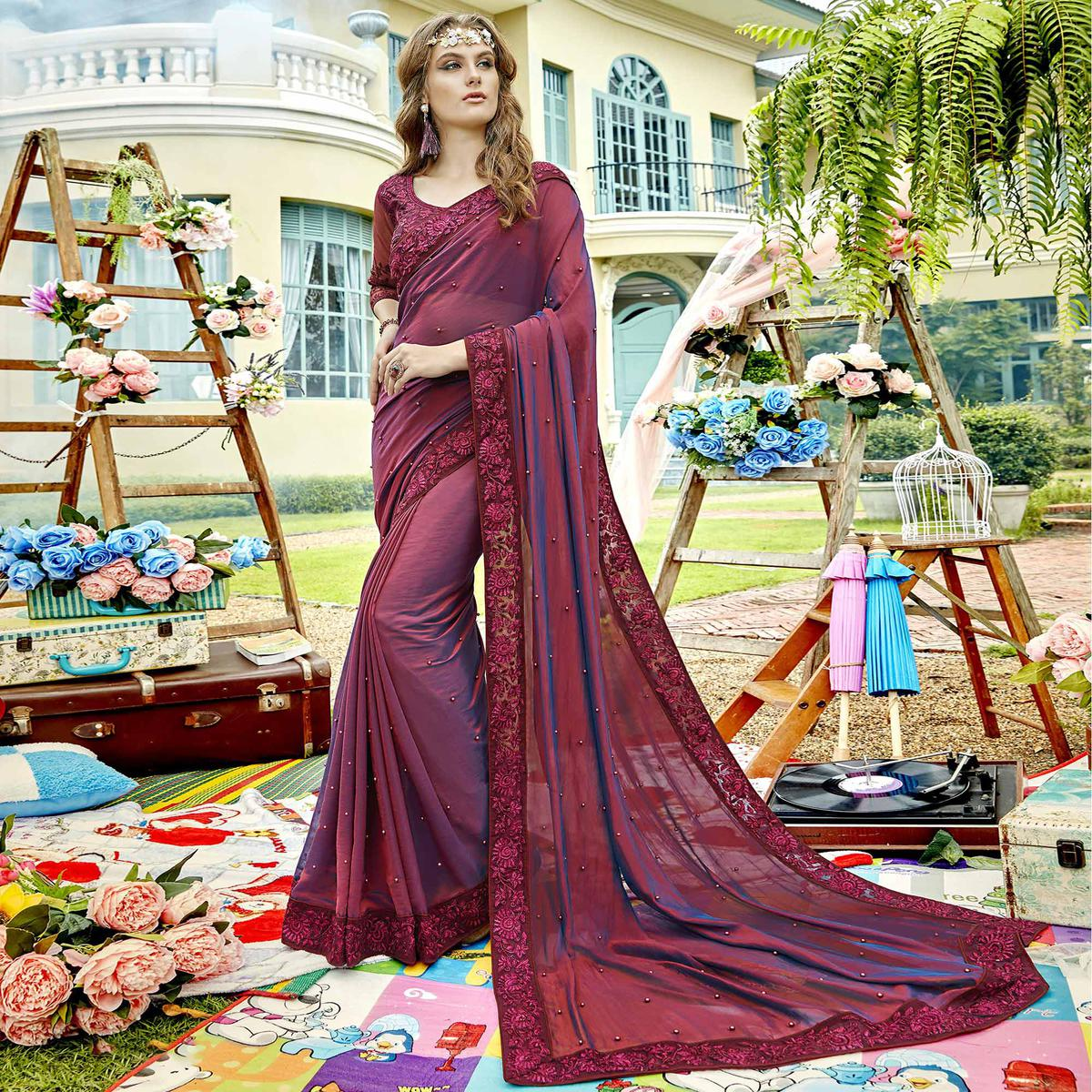 Elegant Wine Colored Party Wear Embroidered Georgette Saree