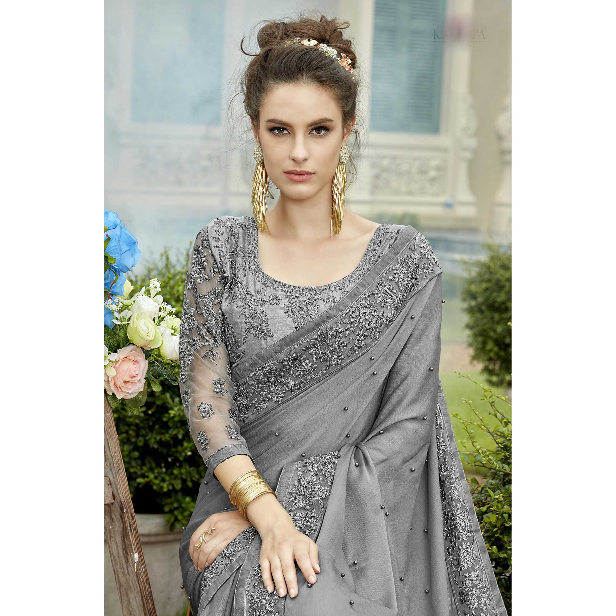 Radiant Grey Colored Party Wear Embroidered Georgette Saree