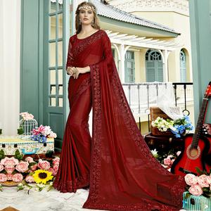 Sensational Rust Red Colored Party Wear Embroidered Georgette Saree