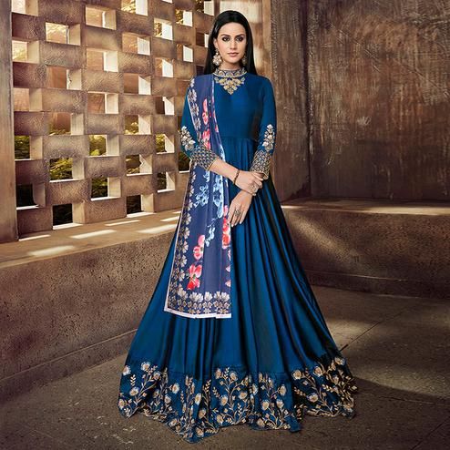 Gorgeous Navy Blue Colored Partywear Embroidered Tapeta Silk Anarkali Suit