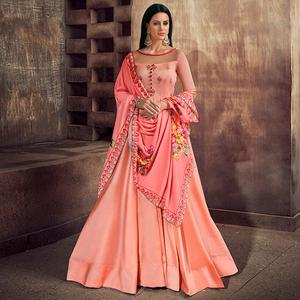 Fantastic Peach Colored Partywear Embroidered Tapeta Silk Anarkali Suit