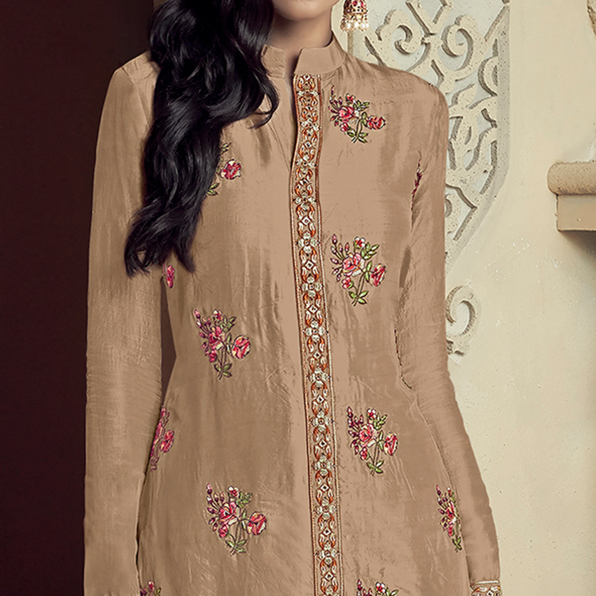 Breathtaking Light Brown Colored Partywear Embroidered Uppada Silk Palazzo Suit