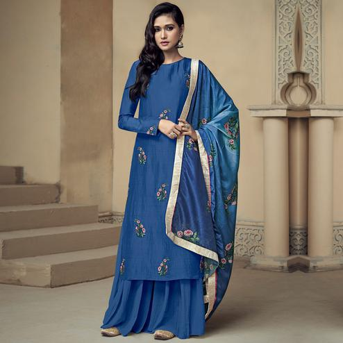 Impressive Blue Colored Partywear Embroidered Uppada Silk Palazzo Suit