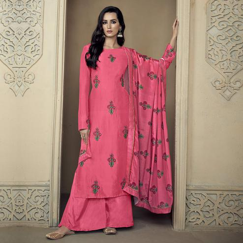 Gleaming Pink Colored Partywear Embroidered Uppada Silk Palazzo Suit