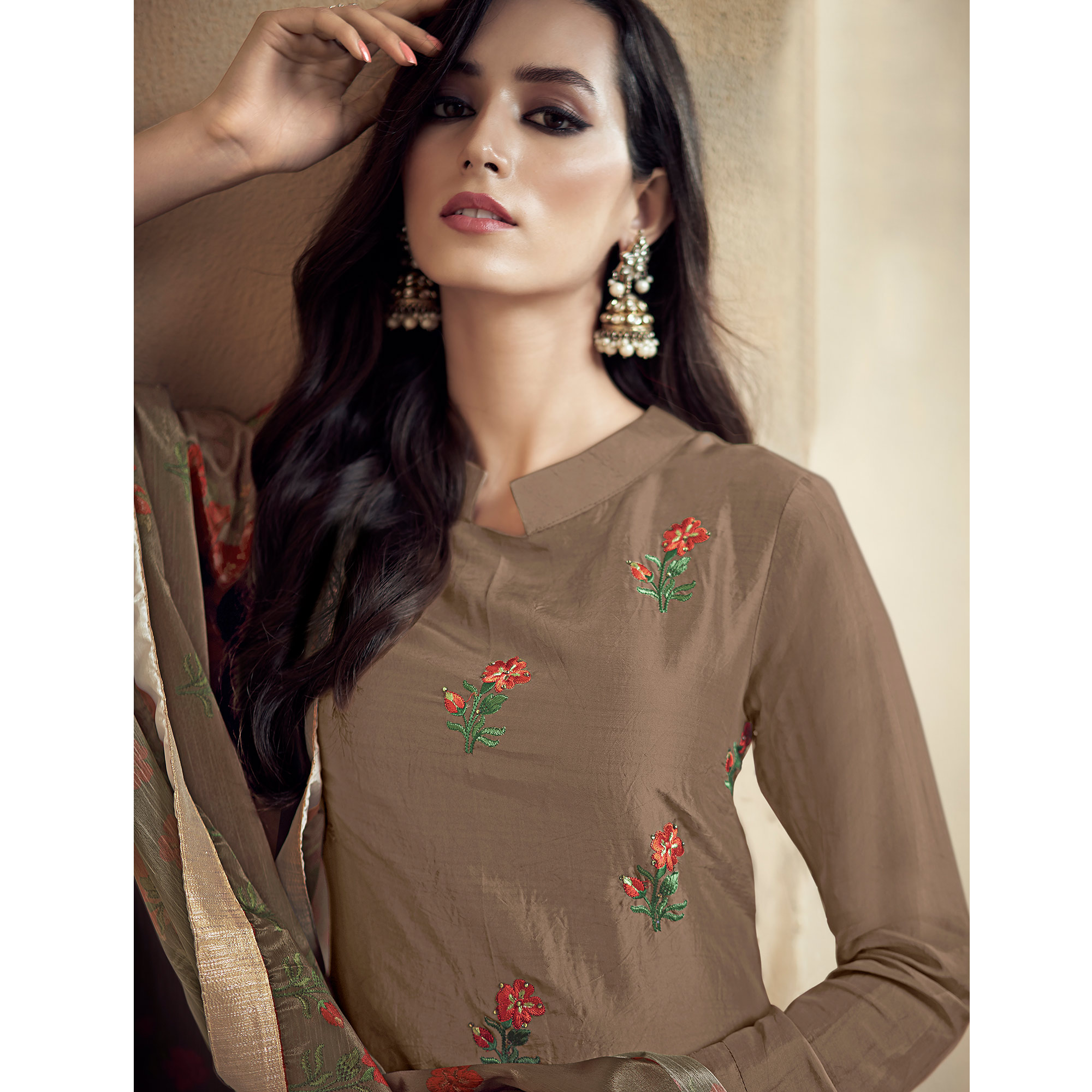 Arresting Brown Colored Partywear Embroidered Uppada Silk Palazzo Suit