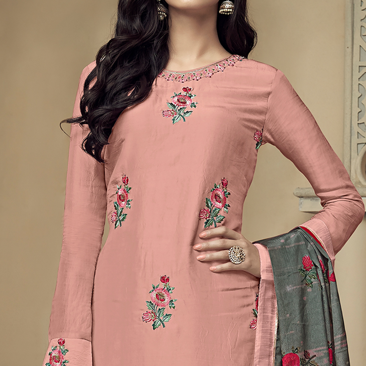 Exceptional Peach Colored Partywear Embroidered Uppada Silk Palazzo Suit