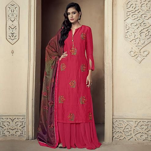 Excellent Deep Pink Colored Partywear Embroidered Uppada Silk Palazzo Suit