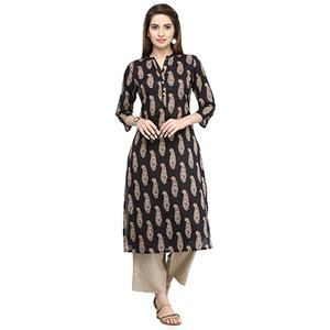 Charming Black Printed Cotton Kurti