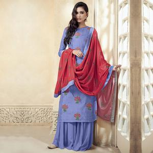 Hypnotic Lavender Colored Partywear Embroidered Uppada Silk Palazzo Suit