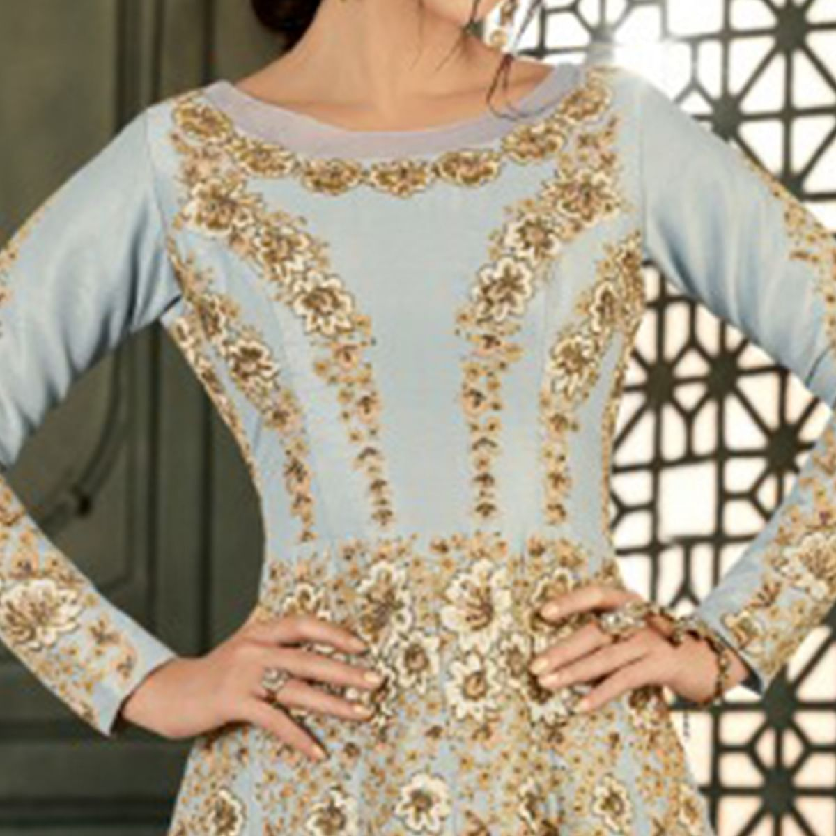 Alluring Grey Colored Party Wear Embroidered Mulberry Silk Anarkali Suit