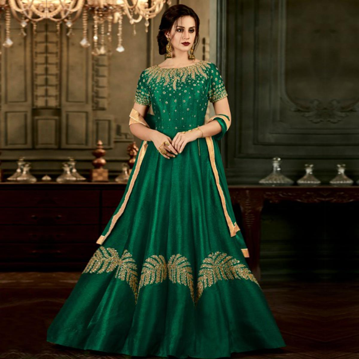 Radiant Green Colored Party Wear Embroidered Mulberry Silk Anarkali Suit
