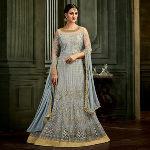 Sensational Grey Colored Party Wear Embroidered Mulberry Silk Anarkali Suit