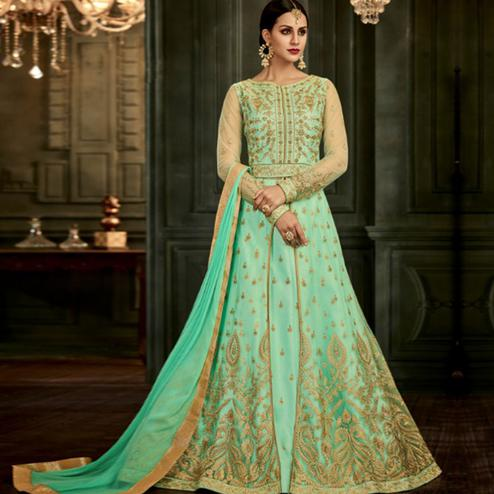 Opulent Light Green Colored Party Wear Embroidered Mulberry Silk Anarkali Suit