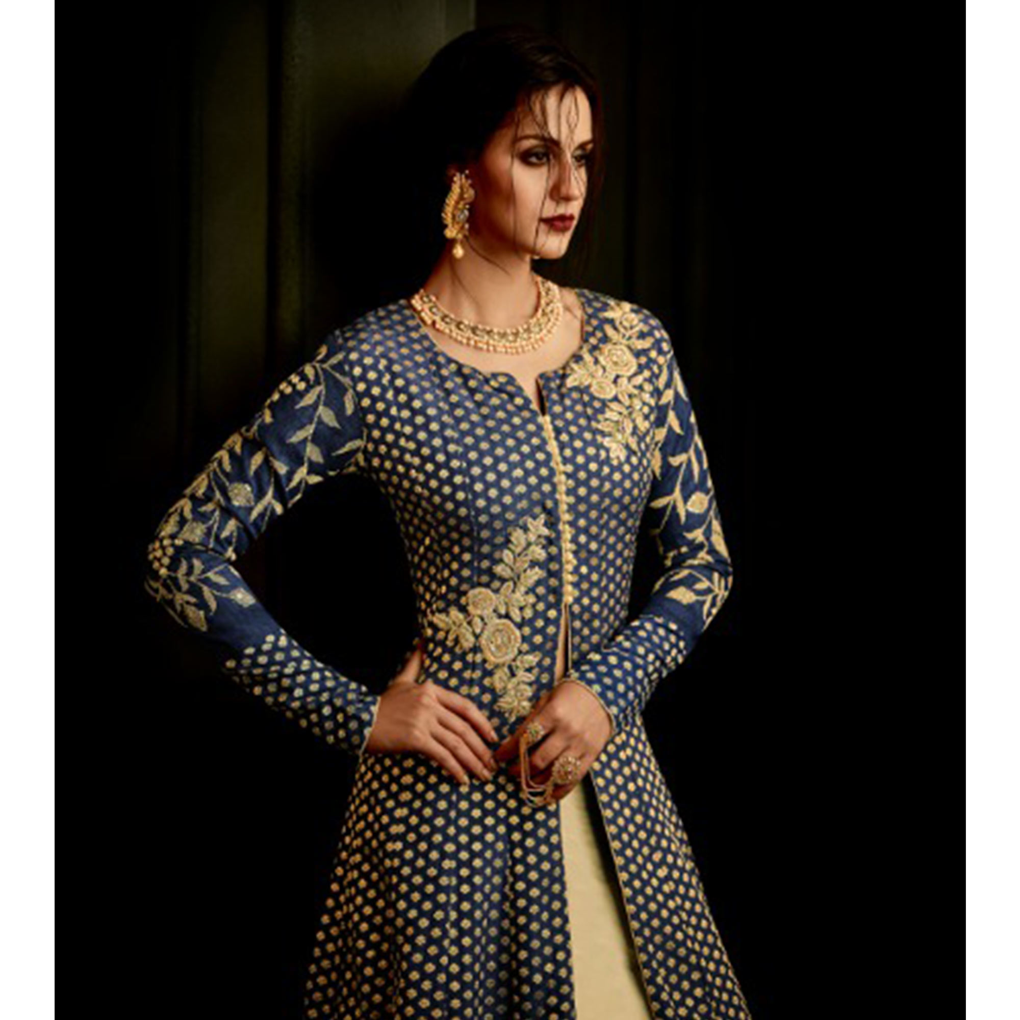 Dazzling Navy Blue Colored Party Wear Embroidered Mulberry Silk Anarkali Suit