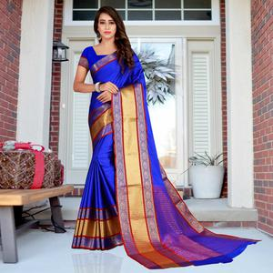 Jazzy Blue Colored Festive Wear Printed Cotton Saree
