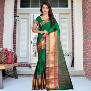 Appealing Green Colored Festive Wear Printed Cotton Saree