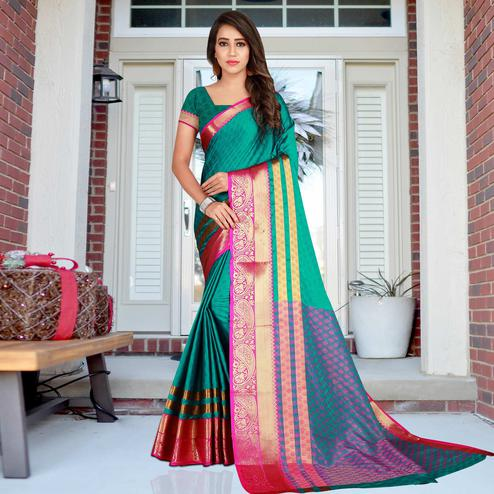 Prominent Teal Green Colored Festive Wear Printed Cotton Saree
