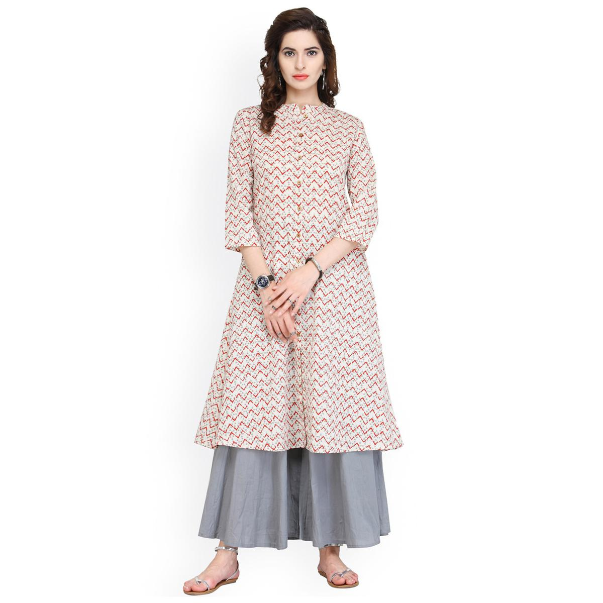 Cream Printed Cotton Kurti