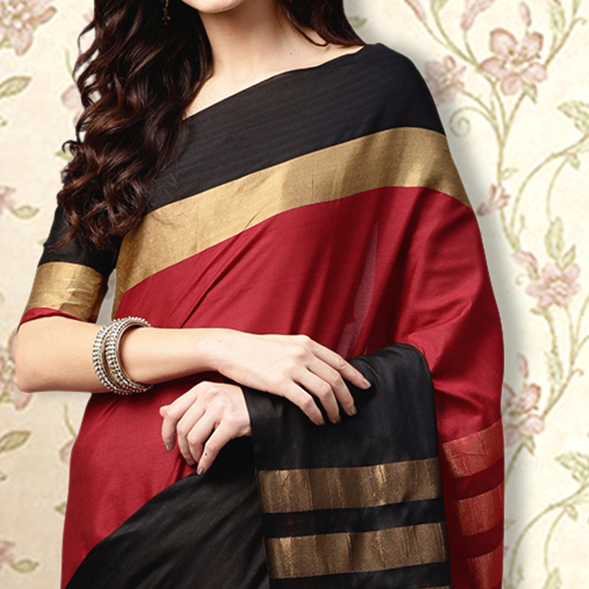 Captivating Red & Black Colored Festive Wear Printed Silk Saree