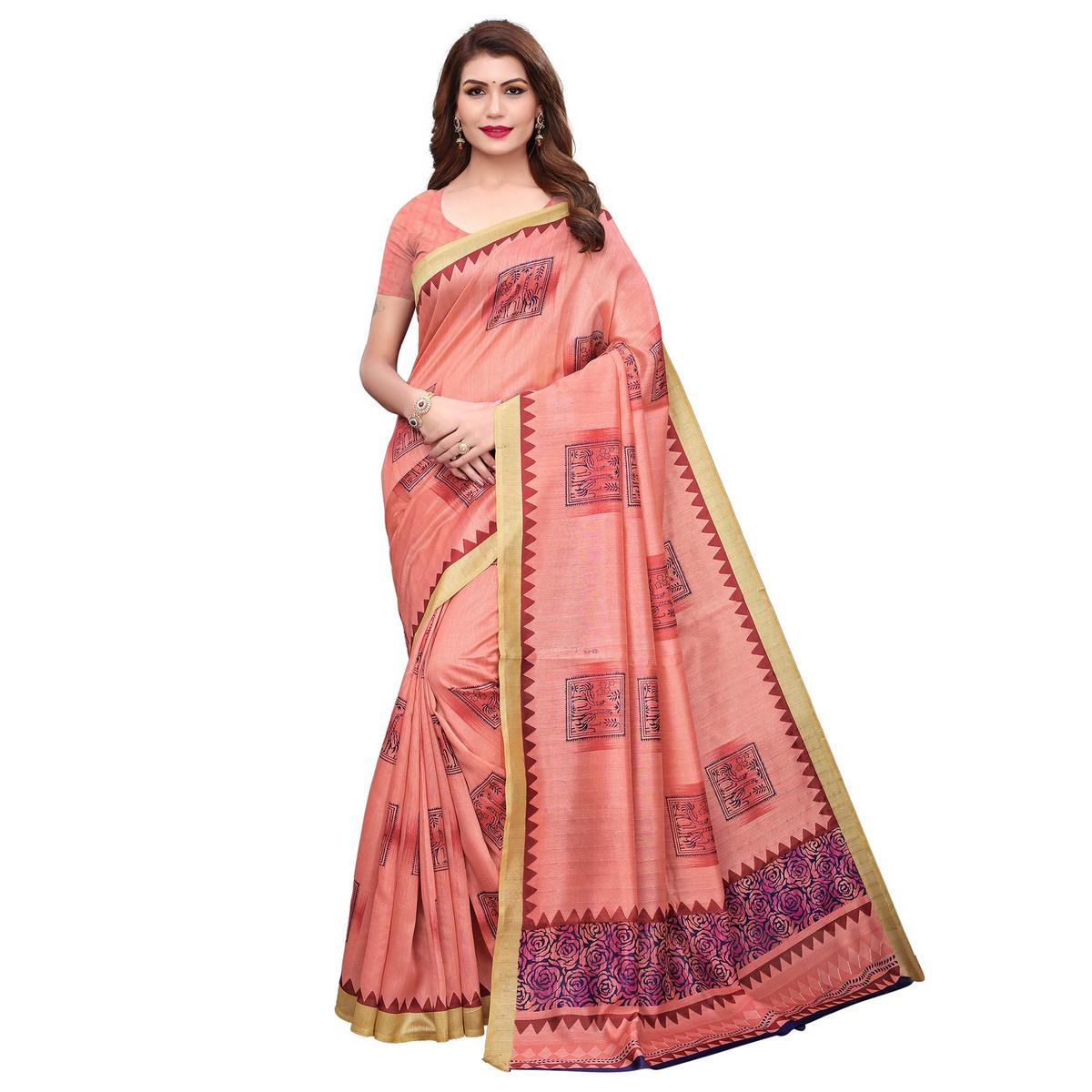 Alluring Peach Colored Festive Wear Printed Bhagalpuri Silk Saree
