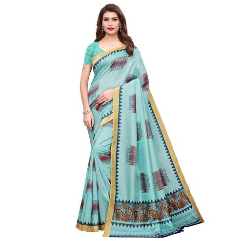 Radiant Sea Green Colored Festive Wear Printed Bhagalpuri Silk Saree