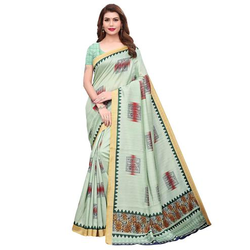 Sensational Light Green Colored Festive Wear Printed Bhagalpuri Silk Saree