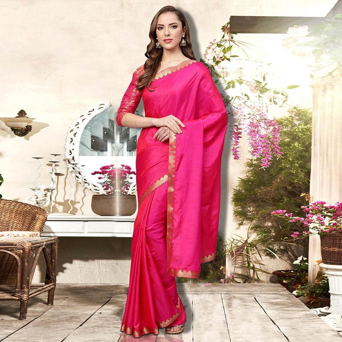 Dazzling Magenta Pink Colored Festive Wear Printed Silk Saree