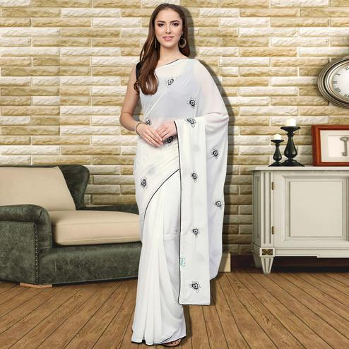 Eye-Catching White Colored Casual Wear Georgette Saree
