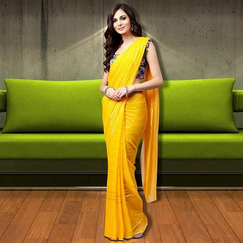 Attractive Yellow Colored Casual Wear Georgette Saree