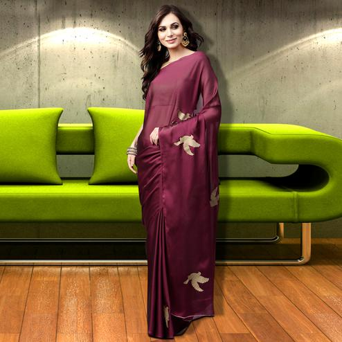 Glowing Wine Colored Casual Wear Georgette Saree