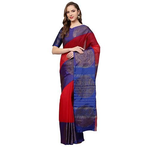 Unique Red Colored Festive Wear Woven Art Silk Saree